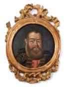 """Miniaturportrait eines russischen Adeligen17. Jh.Verso bez. """"Bojar Jurge Ivanowitsch"""