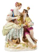 Schäferpaar mit BlumengirlandeMeissen, 19. Jh.Modell von Ernst August Leuteritz 1864. Barfüßig auf