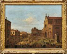 Begräbnis eines Dogen in ZanipoloVenezianische Schule des 18. JahrhundertsMenschenansammlung auf dem