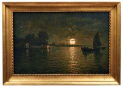 Fragiacomo, PietroFischerboot in der Lagune im Licht des Vollmonds(Triest 1856-1922 Venedig) Öl/Lwd.