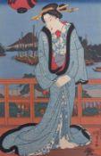 Utagawa Kunisada (Toyokuni III.)Schönheit am Abend (Bijin)(Katsushika 1786-1865 Edo)