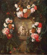 Verbruggen, Caspar Peeter d. J. (Attrib.)Blumengirlande um eine Steinkartusche mit Venus und Amor