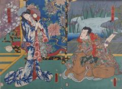 Utagawa Kunisada (Toyokuni III.)Diptychon mit Kabuki-Szene(Katsushika 1786-1865 Edo)