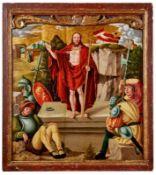 Gotisches Tafelbild mit der Auferstehung Jesu ChristiSüddeutscher Meister des fr. 16.