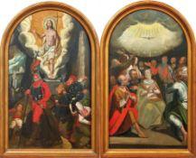 Pendants mit Auferstehung Christi und PfingstwunderKreis des Christoph Schwarz zu MünchenDer