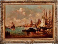 Ziem, Félix (Attrib.)Blick auf die Lagune von Venedig(Beaune 1821-1911 Paris) Öl/Lwd. 73 x 100 cm. -
