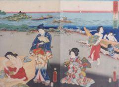 "Utagawa Kunisada (Toyokuni III.)Zwei Blatt des Triptychons ""Genji am Strand von Ise, den"