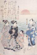 """Utagawa Kunisada (Toyokuni III.)Blatt aus einem Triptychon """"Kabuki-Schauspieler in Futamigaura"""" ("""