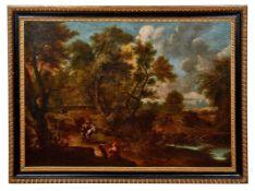 Berchem, Nicolaes - Kreis desLandschaft mit Reisenden(Haarlem 1620-1683 Amsterdam) Bepackte Maulesel