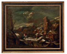 Heil, Daniel van - Umkreis desReisende in felsiger Winterlandschaft(Brüssel 1604-1664 ebd.) Öl/Lwd.,