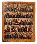 VielfelderikoneUm 1820Kleinteilige Darstellung verschiedener Heiliger und Kirchväter sowie aus dem