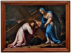 Jesus begegnet seiner MutterFlorentiner Meister des 17. JahrhundertsMaria versucht ihrem unter dem