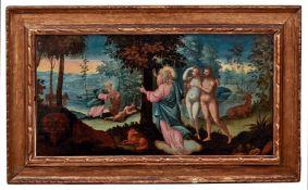 Adam und Eva im ParadiesDeutscher Manierist, Anfang des 17. JahrhundertsIn einer