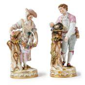 Knabe mit Vogelnest im Hut und Gärtnerin mit BlumengirlandeMeissen, E. 19. Jh.Modell von Michel