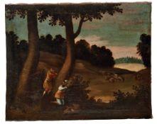 WildschweinjagdSüddeutscher Jagdmaler des 18. JahrhundertsZwei Jäger schießen auf ein