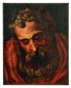 Kopfstudie eines bärtigen Mannes, wohl ein ApostelFlämische Schule des 17./18. JahrhundertsÖl/Lwd.