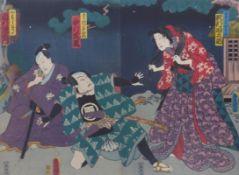 Utagawa Kunisada (Toyokuni III.)Diptychon mit Szene aus einem Kabuki-Theater(Katsushika 1786-1865