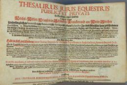 Burgermeister, Johann StephanThesaurus Juris Equestris Publici et PrivatiDessen Erster Theil handelt