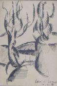 Muehl, Otto und Adolph FrohnerPostkarte mit Zeichnung und Autograph(Grodnau 1925-2013 Moncarapacho/