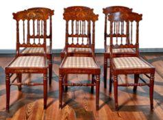 Satz von sechs StühlenMitte 19. Jh.Untergestell mit gedrehten Streben, trapezförmiger Sitz mit