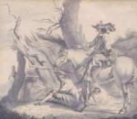 Berchem, Nicolaes (Attrib.)Reiter mit vor einer Hütte sitzendem Bauern(Haarlem 1620-1683