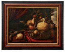 Stillleben mit ZitrusfrüchtenItalien, 17. Jh.Korb voller Früchte auf einem Tisch vor Draperie,