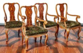 Vier Sessel im Barockstil aus der Villa ShatterhandDeutschland, A. 20. Jh.Auf geschwungenen Beinen