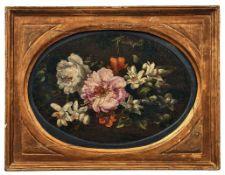 Baudesson, Nicolas - Kreis desOvales Blumenstillleben(Troyes 1611-1680 Paris) Öl/Lwd. 24 x 30 cm.