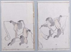 Zwei Blatt mit Affen als LastenträgerJapan, 18. Jh.Rosadruckbild (benizuri-e), früher