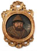Miniaturportrait Alexei I., Zar von Russland17. Jh.Rechts im Hintergrund Blick auf ein Kloster. Öl/
