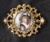 Brosche mit Miniatur19. Jh.Bildausschnitt einer jungen Frau mit Hut, umgeben von teils polychrom