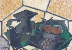 """Braque, Georges - nach""""Le Tapis vert""""Callichromie/Leinwand. Rücks. ausführlich typographisch"""
