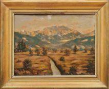 Herrmann, Curt (Attrib.)Loisachtal mit Benediktenwand(Erlangen 1854-1929 Berlin) Öl/Platte. Rechts