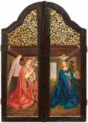 Zwei Seitentafeln eines Flügelaltars mit Verkündigung und HeiligenDeutschland, 18. Jh. und