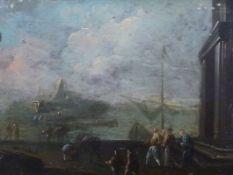 Ferg, Franz de Paula - zugeschriebenKleine Hafenszene(Wien 1689-1740 London) Im Vordergrund
