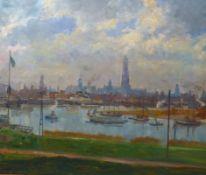 Grebestein, Ferdinand KarlDer Hafen von Antwerpen(Niederhone 1883-1974 Eschwege) Öl/Holz. Rechts
