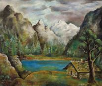 Erbach, AloisHütte an einem Gebirgssee(Wiesbaden 1888-1972 ebd.) Öl/Lwd. Rechts unten sign. 60 x