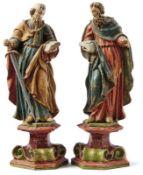 Petrus und Paulus18. Jh.Auf volutengezierten Sockeln im Kontrapost stehende Heilige im faltenreichen