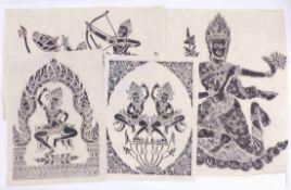 Vier Blatt mit Abreibungen von Steinreliefs eines TempelsThailand, 20. Jh.Tempeltänzerinnen,