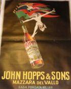"""Bazzi, MarioPoster """"John Hopps"""" - 1923(Bologna 1891-1954 Mailand) Vor schwarzem Grund Weinflasche"""