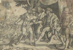 Pencz, GeorgCloelia und der Etruskerkönig Porsenna(Nürnberg um 1500-1550 Leipzig) Kupferstich, um