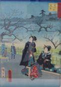 Utagawa (Ando) HiroshigeSzene aus dem Alltagsleben in Edo(Tokio 1797-1858 ebd.) Farbholzschnitt.