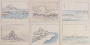 Sechs AnsichtenJapan, um 1900Ansichten des Berges Fuji und Küstenlandschaften. Holzschnitte, 2x