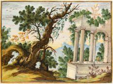Bildplatte mit ArchitekturlandschaftCastelli, 18. Jh.Baumbestandene Küstenlandschaft mit