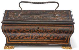 BriefladeVenedig, um 1800Rechteckiger nach oben ausgebauchter Korpus mit anscharniertem Deckel;