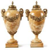 Paar Ziervasen als Brûle-ParfumsFrankreich, 2. H. 19. Jh.Über quadratischer Plinthe runder