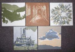 Thönen, MartinFünf Original-Holzschnitt-Karten(Thun 1942 geb., lebt und arbeitet in Bern und in