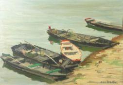"""Le Breton, Constant""""Barques sur la Loire""""(Saint-Germain-des-Prés/Anjou 1895-1985 Paris) Ruderboote"""