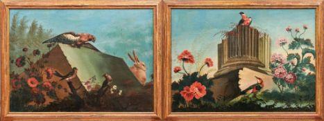 Pendants mit Singvögeln und Ruinen2. H. 18. Jh.Wiesenstück mit blühenden Wildblumen, zentral Säulen-