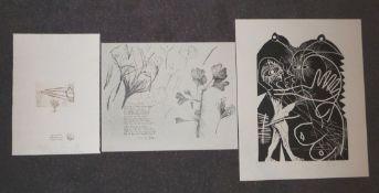 "Sowa, HubertDrei Blatt Graphik(Bamberg 1954 geb.) Stilisierte Figur, Linolschnitt, ""E.A. 12"","
